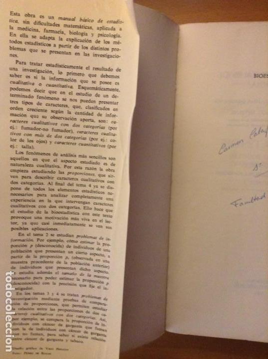 Libros de segunda mano: BIOESTADISTICA. METODOS ESTADISTICOS PARA INVESTIGADORES (JOSEP M. DOMENECH) EDITORIAL HERDER - Foto 3 - 107254775