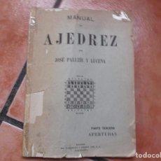 Libros de segunda mano: MANUAL DE AJEDREZ POR JOSE PALUZIE Y LUCENA ,PARTE TERCERA APERTURAS, 1958, 168 PAGINAS,. Lote 107562155