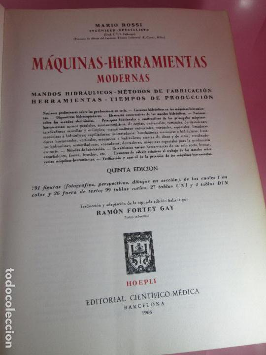 Libros de segunda mano: libro-máquinas,herramientas modernas-mario rossi-hoepli-ed.cientifico.médica-5ªedición-1966 - Foto 2 - 107759243