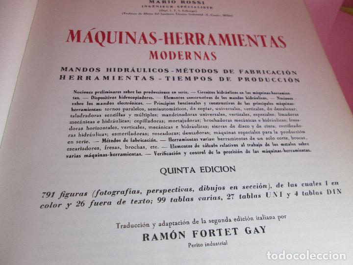 Libros de segunda mano: libro-máquinas,herramientas modernas-mario rossi-hoepli-ed.cientifico.médica-5ªedición-1966 - Foto 4 - 107759243