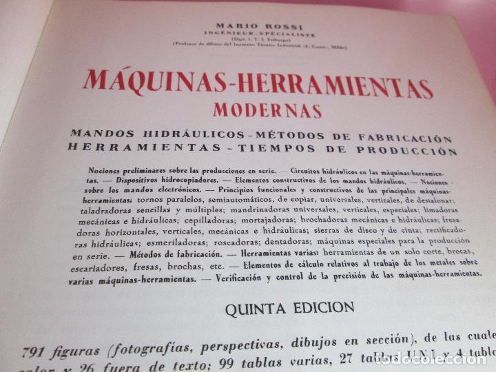 Libros de segunda mano: libro-máquinas,herramientas modernas-mario rossi-hoepli-ed.cientifico.médica-5ªedición-1966 - Foto 5 - 107759243