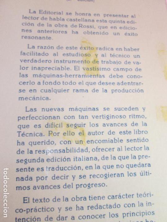 Libros de segunda mano: libro-máquinas,herramientas modernas-mario rossi-hoepli-ed.cientifico.médica-5ªedición-1966 - Foto 23 - 107759243