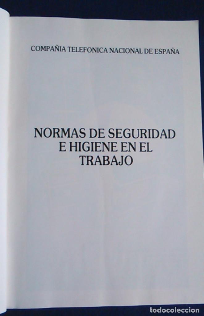Libros de segunda mano: Manual normas de seguridad e higiene en el trabajo, Telefónica. 1988. - Foto 2 - 108081139