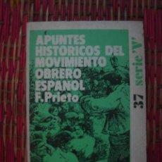 Libros de segunda mano: APUNTES HISTÓRICOS DEL MOVIMIENTO OBRERO ESPAÑOL. F. PRIETO. ZERO, 1973. Lote 182501923