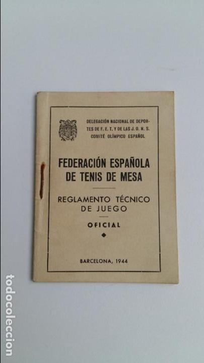PEQUEÑO REGLAMENTO TECNICO DE JUEGO. FEDERACION ESPAÑOLA DE TENIS DE MESA. FET Y JONS. 1944 (Libros de Segunda Mano - Ciencias, Manuales y Oficios - Otros)