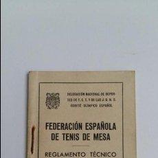 Libros de segunda mano: PEQUEÑO REGLAMENTO TECNICO DE JUEGO. FEDERACION ESPAÑOLA DE TENIS DE MESA. FET Y JONS. 1944. Lote 109432835