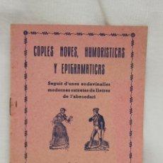 Libros de segunda mano: COPLES NOVES, HUMORISTICAS Y EPIGRAMATICAS J.F. QUERI EDITORIAL DIARREA BARCELONA. Lote 110445915