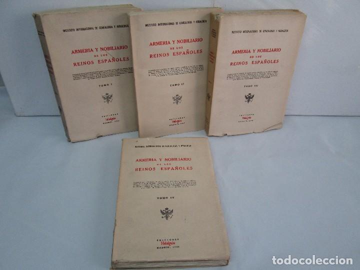 ARMERIA Y NOBILIARIO DE LOS REINOS ESPAÑOLES. TOMO I-II-III-IV. EDICIONES HIDALGUIA. VER FOTOS (Libros de Segunda Mano - Ciencias, Manuales y Oficios - Otros)