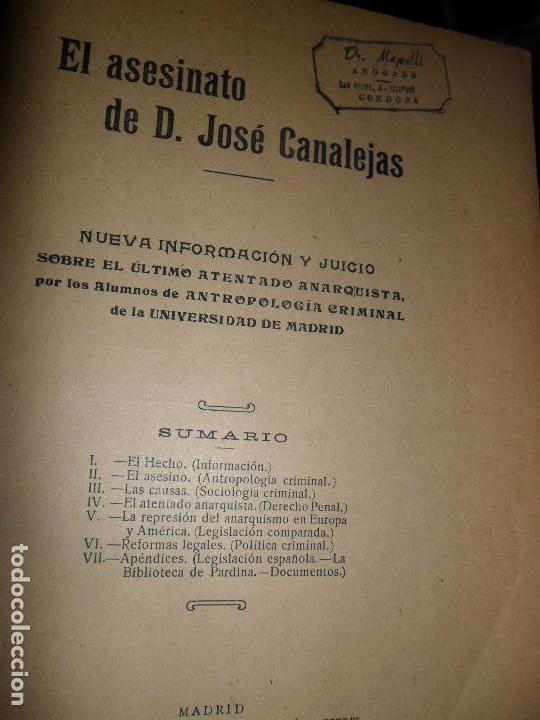 EL ASESINATO DE D. JOSÉ CANALEJAS, NUEVA INFORMACIÓN Y JUICIO, MADRID, 1912 (Libros de Segunda Mano - Historia - Otros)