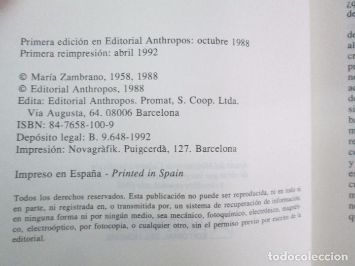 Libros de segunda mano: MARIA ZAMBRANO. 4 LIBROS: LA RAZON EN LA SOMBRA. FILOSOFIA Y POESIA. PERSONA Y DEMOCRACIA... - Foto 8 - 111587059