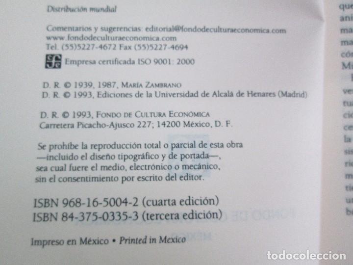Libros de segunda mano: MARIA ZAMBRANO. 4 LIBROS: LA RAZON EN LA SOMBRA. FILOSOFIA Y POESIA. PERSONA Y DEMOCRACIA... - Foto 18 - 111587059