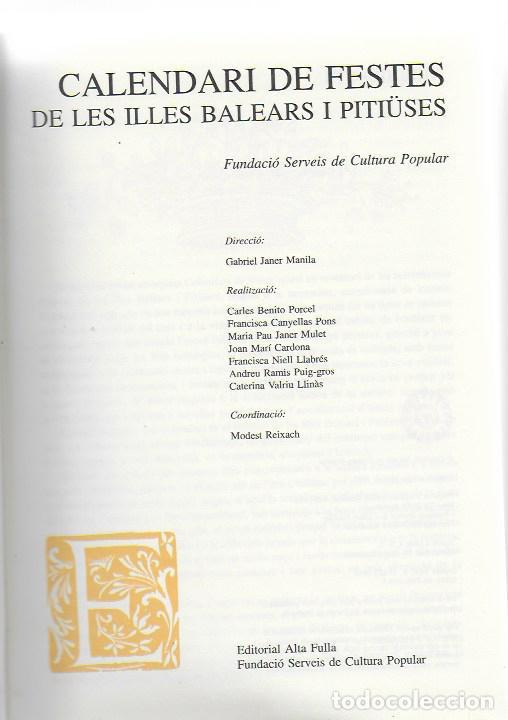 Libros de segunda mano: Calendari de festes de les Illes Balears i Pitiuses / Dir. G. Janer Manila. BCN : Altafulla, 1992. - Foto 3 - 112006875