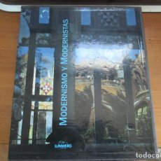 Libros de segunda mano: MODERNISMO Y MODERNISTAS. BORJA DE RIQUER. EN ESTUCHE DE CARTÓN. LUNWERG EDITORES. Lote 112398635