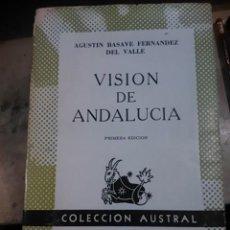 Libros de segunda mano: VISION DE ANDALUCIA. COLECCIÓN AUSTRAL Nº 1391 (MÉXICO, 1966), AGUSTÍN BASAVE FERNÁNDEZ DEL VALLE. Lote 112458963