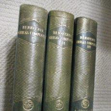 Libros de segunda mano: JACINTO BENAVENTE, OBRAS COMPLETAS AGUILAR, TOMOS 1, 2 Y 3, PLENA PIEL. Lote 112930723