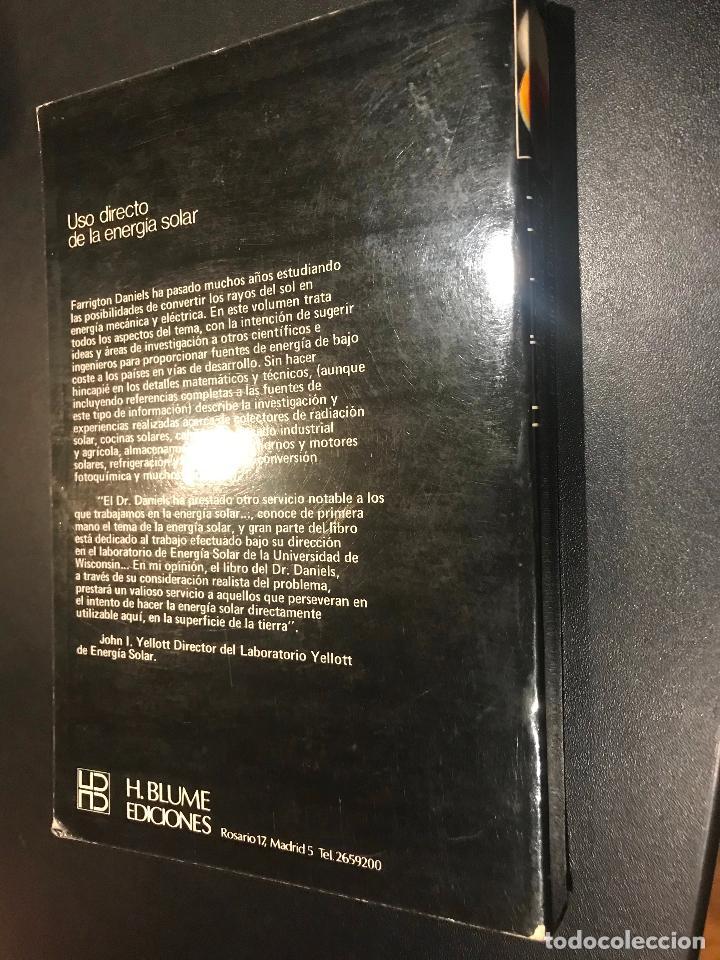 Libros de segunda mano: USO DIRECTO DE LA ENERGÍA SOLAR - DANIELS, FARRINGTON - Foto 3 - 112963391