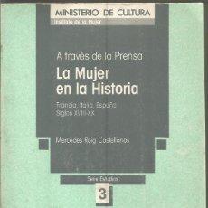 Libros de segunda mano: MERCEDES ROGI CASTELLANOS. LA MUJER EN LA HISTORIA A TRAVES DE LA PRENSA. MINISTERIO DE CULTURA. Lote 113212143