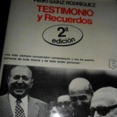 Gebrauchte Bücher - Testimonio y recuerdos, Pedro Sainz Rodríguez, ed. Planeta - 113282719