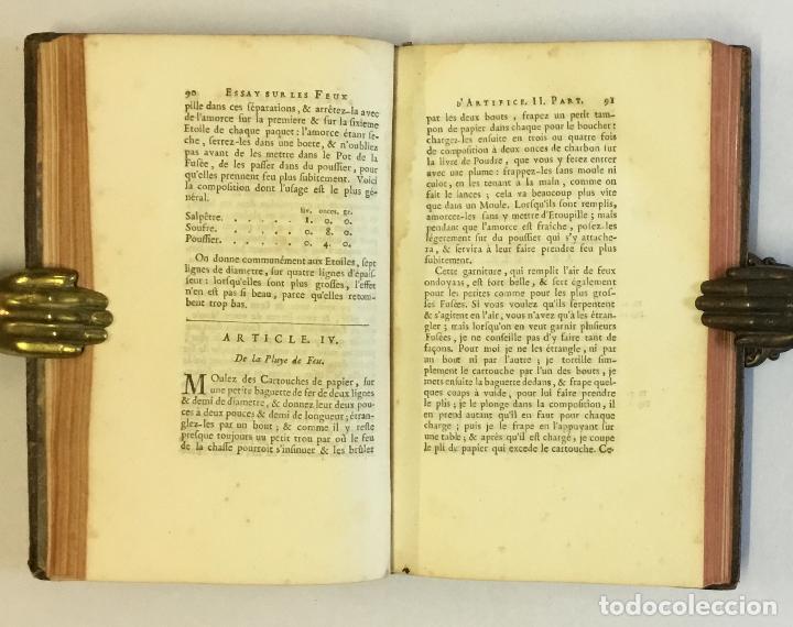 Libros de segunda mano: ESSAY SUR LES FEUX D'ARTIFICE ET POUR LA GUERRE. - [PERRINET D'ORVAL Jean-Charles.] 1745 - Foto 6 - 114799632