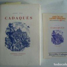 Libros de segunda mano: JOSEP PLA - CADAQUÉS (2012). FACSÍMIL 1947 PAPER DE FIL NUMERAT A DUES TINTES XILOGRAFIES C. RICART.. Lote 114876159