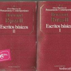 Libros de segunda mano: BERTRAND RUSSELL. ESCRITOS BASICOS I Y II. PLANETA-AGOSTINI. Lote 115523279