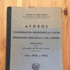 Libros de segunda mano: AFOROS JUCAR Y HIDRAULICA DEL SUR 1932 42 MINISTERIO OBRAS PÚBLICAS IMPR LITOGRAFIA ORTEGA VALENCIA. Lote 115690367