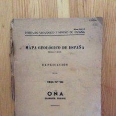 Libros de segunda mano: MAPA GEOLOGICO DE ESPAÑA OÑA BURGOS ALAVA 1956. Lote 115692363