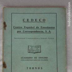 Libros de segunda mano: CUADERNO DE ESTUDIO, TORNOS, CEDECO, 1949, MADRID. Lote 115814935