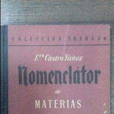 Libros de segunda mano: NOMENCLATOR DE MATERIAS PLASTICAS. FRANCISCO CASTRO YAÑEZ. EDITORIAL SEIX BARRAL, S. A. 1947. . Lote 116075647