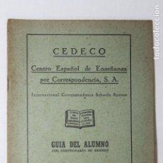 Libros de segunda mano: CUADERNO DE ESTUDIO, GUIA DEL ALUMNO, CEDECO, 1949, MADRID. Lote 116078047