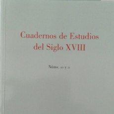 Libros de segunda mano: CUADERNOS DE ESTUDIOS DEL SIGLO XVIII NÚMS 10 Y 11 (2000-2001). Lote 117578614