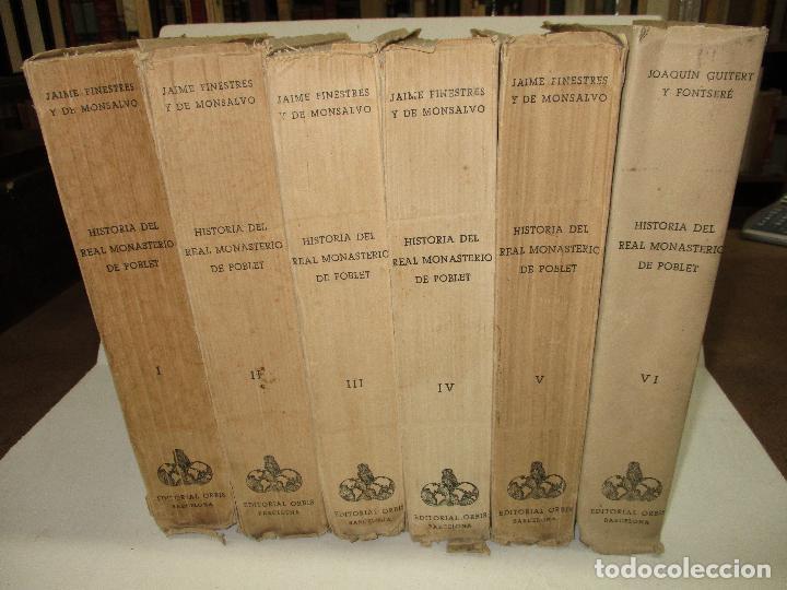 Libros de segunda mano: HISTORIA DEL REAL MONASTERIO DE POBLET. FINESTRES Y DE MONSALVO, Jaime. 6 VOLS. 1947-49. - Foto 2 - 118178683