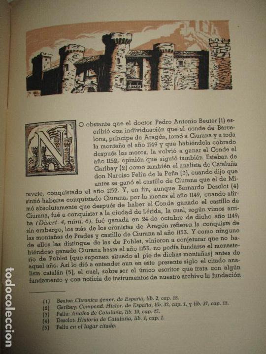 Libros de segunda mano: HISTORIA DEL REAL MONASTERIO DE POBLET. FINESTRES Y DE MONSALVO, Jaime. 6 VOLS. 1947-49. - Foto 7 - 118178683