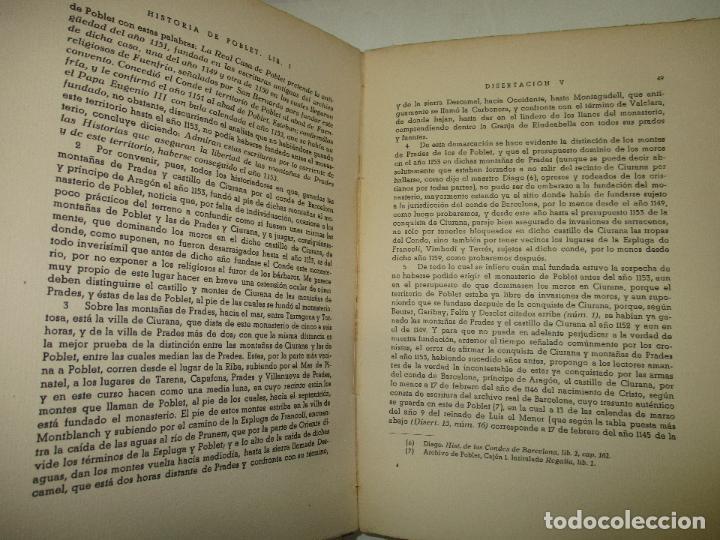 Libros de segunda mano: HISTORIA DEL REAL MONASTERIO DE POBLET. FINESTRES Y DE MONSALVO, Jaime. 6 VOLS. 1947-49. - Foto 10 - 118178683