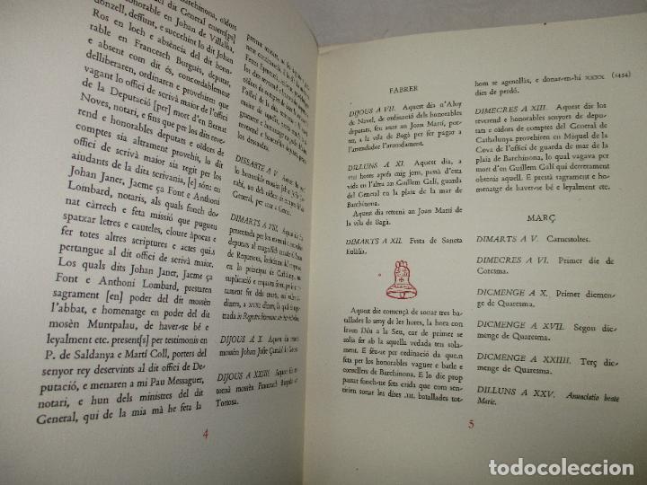Libros de segunda mano: DIETARI DE LA DIPUTACIÓ DEL GENERAL DE CATALUNYA. 1454 A 1472. FONT, Jacme Ça. 1950. BIBLIOFILIA. - Foto 7 - 118190379