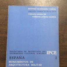 Libros de segunda mano: MONUMENTOS DE ARQUITECTURA MILITAR. INVENTARIO RESUMIDO(18€). Lote 118491035