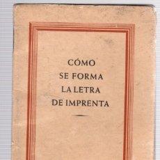 Libros de segunda mano: COMO SE FORMA LA LETRA DE IMPRENTA. NEUFVILLE, AÑOS 60. Lote 118527134