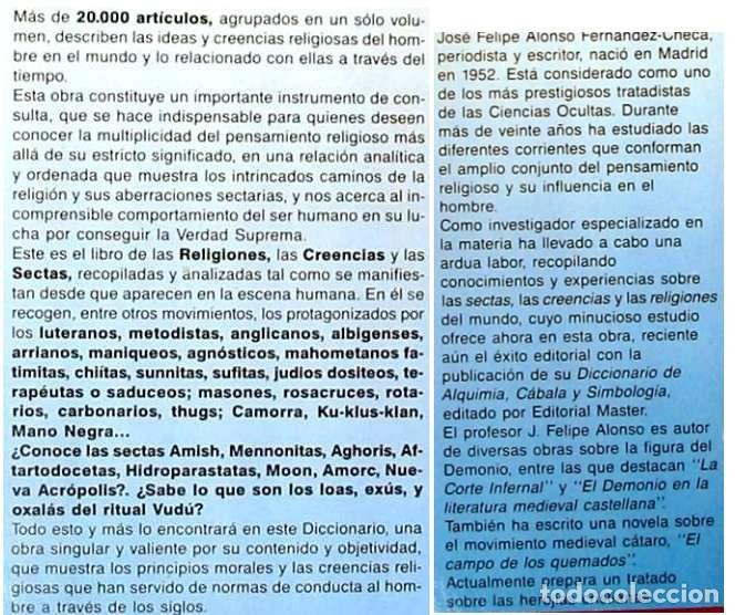 Libros de segunda mano: DICCIONARIO DE SECTAS, CREENCIAS Y RELIGIONES - FELIPE ALONSO FERNÁNDEZ-CHECA 1995 - VER INDICE - Foto 2 - 119332787