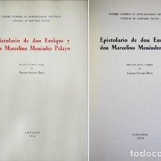 Libros de segunda mano: EPISTOLARIO DE DON ENRIQUE Y DON MARCELINO MENÉNDEZ PELAYO. 1954.. Lote 119598471
