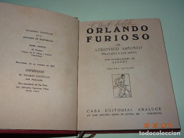 Libros de segunda mano: ORLANDO FURIOSO Relatado a los Niños - Colección ARALUCE - Año 1941 - Foto 5 - 120389859