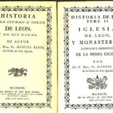 Libros de segunda mano: RISCO :HISTORIA DE LA CIUDAD Y CORTE DE LEÓN (NEBRIJA, 1978) 2 TOMOS + CARPETA DE LÁMINAS - FACSÍMIL. Lote 120705651