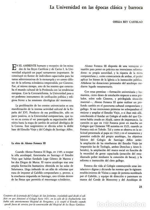 Libros de segunda mano: B310 - LA UNIVERSIDAD DE SANTIAGO. MANUEL C. DIAZ Y DIAZ. (COORD.). GALICIA. - Foto 3 - 121345203