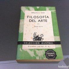 Libros de segunda mano: HIPÓLITO TAINE. FILOSOFÍA DEL ARTE (TOMO II) Nº 505. AÑO 1960. Lote 122277451