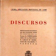 Libros de segunda mano: DISCURSOS PRONUNCIADO CON MOTIVO DE LOS SOLEMNES ACTOS DE DESPEDIDA AL EXCMO. SR. VALCARCEL.. Lote 124390415