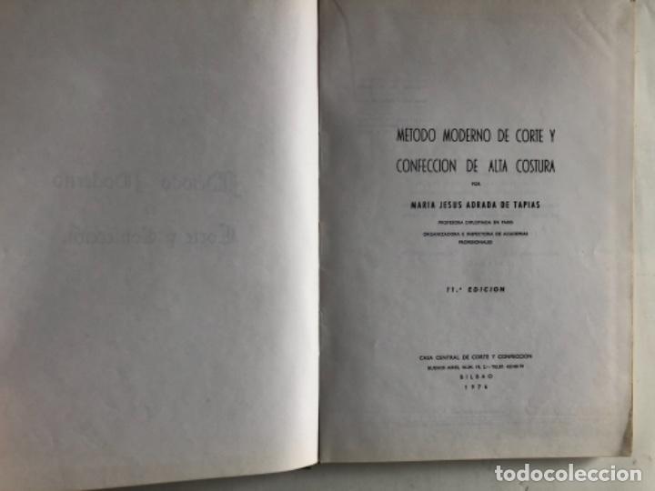 Libros de segunda mano: MÉTODO MODERNO DE CORTE Y CONFECCIÓN, Mª JESÚS ADRADA DE TAPIAS. CASA CENTRAL, BILBAO (1976). - Foto 2 - 124741799