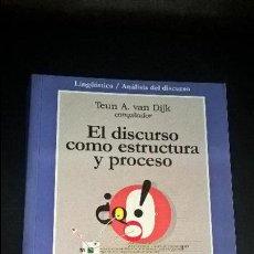 Libros de segunda mano: EL DISCURSO COMO ESTRUCTURA Y PROCESO. TEUN A. VAN DIJK. GEDISA 2000 PRIMERA EDICION.. Lote 125931451