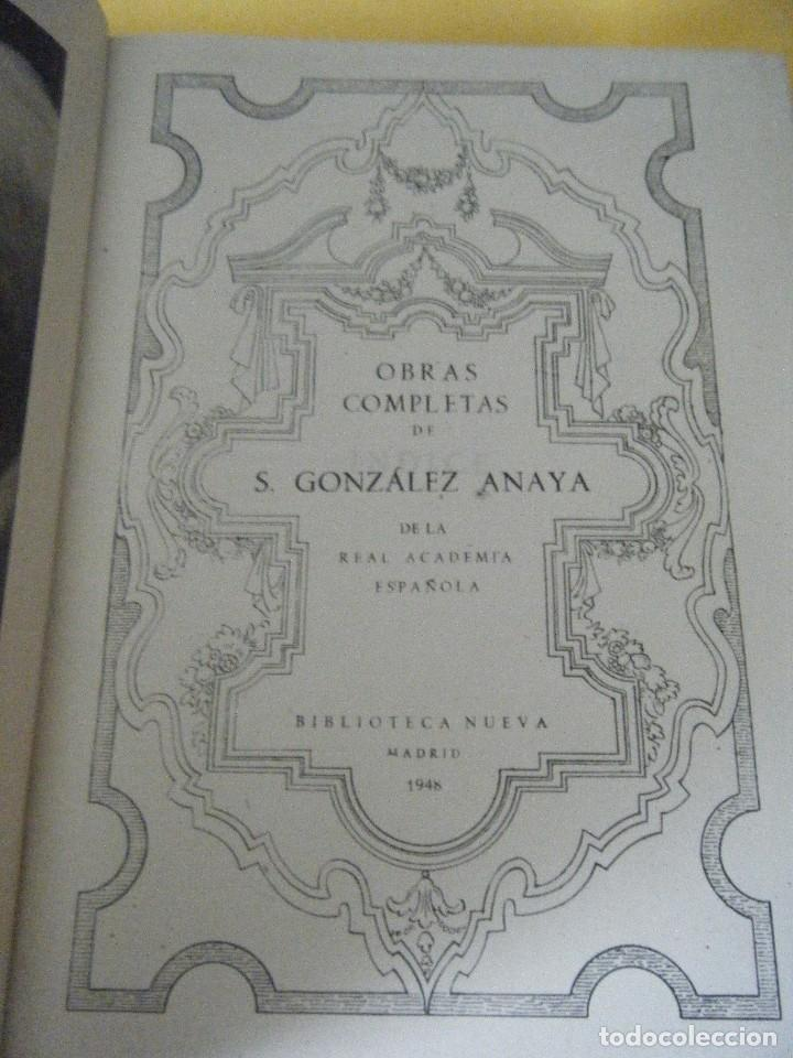Libros de segunda mano: OBRAS COMPLETAS DE SALVADOR GONZÁLEZ ANAYA. PLENA PIEL - Foto 5 - 126128831