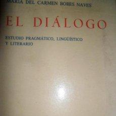 Libros de segunda mano: EL DIÁLOGO, ESTUDIO PRAGMÁTICO, LINGÜÍSTICO Y LITERARIO, MARÍA DEL CARMEN BOBES, ED. GREDOS. Lote 126175967