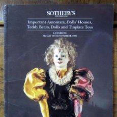Libros de segunda mano: CATÁLOGO SUBASTA SOTHEBY'S, 1995 - AUTOMATAS, OSOS DE PELUCHE, CASA MUÑECAS, JUGUETES, HOJALATA. Lote 126454411