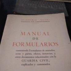 Libros de segunda mano: MANUAL DE FORMULARIOS GUARDIA CIVIL, ACADEMIA GUIA JOSE ANDUIZA. Lote 127532191
